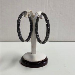 costume Jewelry - Costume rhinestone earrings black and clear hoops